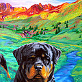 Rottweiler Dogs Landscape Painting Bright Colors by Aaliyah Scott