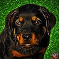 Rottweiler Pop Art 0481 - Bc1 - Green by James Ahn