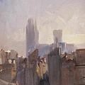 Rouen Cathedral Sunrise by Richard Parkes Bonnington