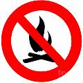 Round Fire Ban Sign Symbol Isolated On White by Stephan Pietzko