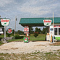 Route 66 Gas Station With Sponge Painting Effect by Frank Romeo