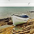 Row Boat On Rocky Shore by Jill Battaglia
