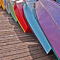 Row Of Colorful Boats Art Prints by Valerie Garner