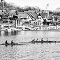 Rowing Along The Schuylkill River In Black And White by Bill Cannon