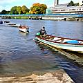 Rowing On The River - Irish Art By Charlie Brock by Charlie Brock