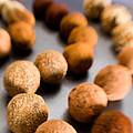 Rows Of Chocolate Truffles On Silver by Iris Richardson