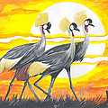 Royal Cranes From Rwanda by Emmanuel Baliyanga