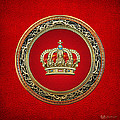 Royal Crown In Gold On Red  by Serge Averbukh