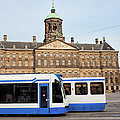 Royal Palace And Trams In Amsterdam by Artur Bogacki