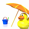 Rubber Duck At The Beach by Jan Brons