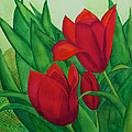 Ruby Red Tulips by Patricia Beebe