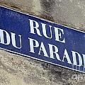 Rue Du Paradis Street Sign by Ros Drinkwater