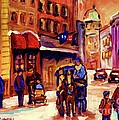 Rue St. Paul Old Montreal Streetscene In Winter by Carole Spandau