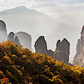 Rugged Cliffs And A Monastery  Meteora by Reynold Mainse