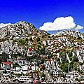 Rugged Cliffside Village Digital Painting by Barbara Griffin