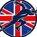 Runner Sprinter Start British Flag Circle by Aloysius Patrimonio