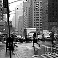Running In The Rain - New York City Street Scene by Miriam Danar