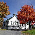Rural Church In Autumn by Janet Ashworth