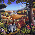 Rural Country Farm Life Landscape Folk Art Raccoon Squirrel Rustic Americana Scene  by Walt Curlee