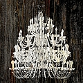 Rustic Shabby Chic White Chandelier On Wood by Suzanne Powers