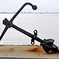 Rusty Black Boat Anchor By Sarasota Harbor Usa by Sally Rockefeller