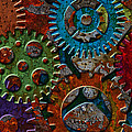 Rusty Gears On Grunge Texture Background by Jit Lim