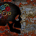 Rusty Gears On Skull Grunge Texture Background by Jit Lim