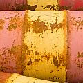 Rusty Oil Barrels Yellow Red Background Pattern by Stephan Pietzko
