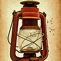 Rusty Old Lantern On Aged Textured Background E59 by Wendell Franks