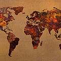 Rusty Vintage World Map On Old Metal Sheet Wall by Design Turnpike