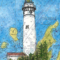 S Manitou Island Lighthouse Mi Nautical Chart Map Art by Cathy Peek