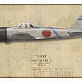 Saburo Sakai A6m Zero - Map Background by Craig Tinder
