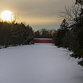 Sachs Covered Bridge At Sunrise In Winter by Bill Cannon