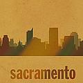 Sacramento California City Skyline Watercolor On Parchment by Design Turnpike
