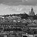 Sacre Coeur Over Rooftops Black And White Version by Gary Eason