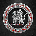 Sacred Silver Griffin On Black Leather by Serge Averbukh