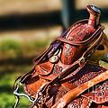 Saddle In Waiting Western Saddle Horse by Eleanor Abramson