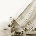 Sail Boats Little Anne And Virginia Collision On San Francisco Bay Circa 1886 by California Views Archives Mr Pat Hathaway Archives