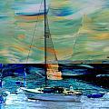 Sailboat And Abstract by Anita Burgermeister