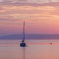 Sailboat At Sunrise In Casco Bay Maine by Diane Diederich