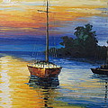Sailboat At Sunset by Rosie Sherman