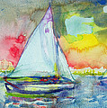 Sailboat Evening Wc On Paper by Brenda Brin Booker