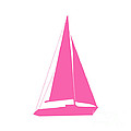 Sailboat In Pink And White by Jackie Farnsworth