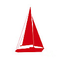 Sailboat In Red And White by Jackie Farnsworth