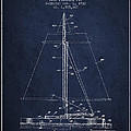 Sailboat Patent From 1932 - Navy Blue by Aged Pixel