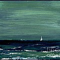 Sailboats Across A Rough Surf Ventura by Cathy Peterson