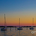 Sailboats At Sunset Clinton Connecticut by Edward Fielding