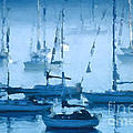 Sailboats In The Fog II by David Perry Lawrence