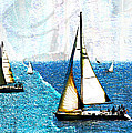 Sailboats In The Harbor by Hal Halli