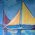 Sailboats With Red And Yellow Sails by Betty Pieper